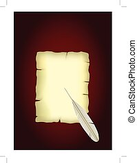 feather., papel, antigas, scroll