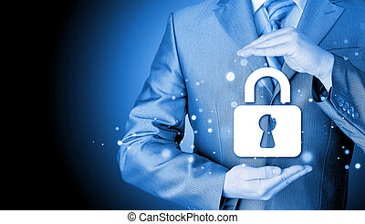 fechadura, segurança, conceito, proteja, homem negócios