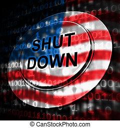 feche, furlough, eua, meios, botão, governo, político, baixo, shutdown, nacional