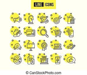feedback., marketing, icons., estratégia, vetorial, linha