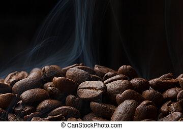 feijões café, assando, fumaça