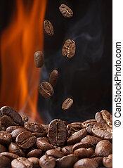 feijões café, assando, fumaça, queda