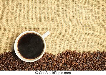 feijões, café, burlap, fundo, copo