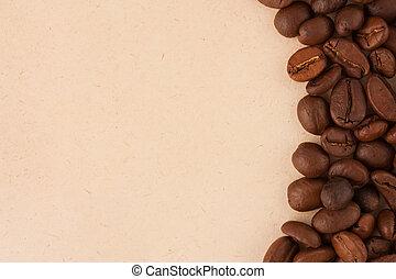 feijões, café, papel, antigas, fundo