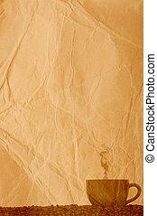 feijões, café, papel, antigas, pergaminho