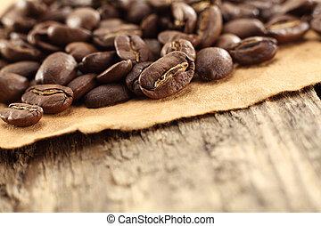 feijões café, pergaminho