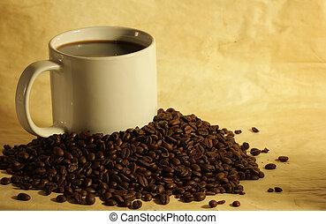 feijões, café, pilha, quentes, copo