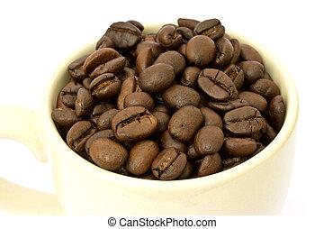 feijões café, xícara branca