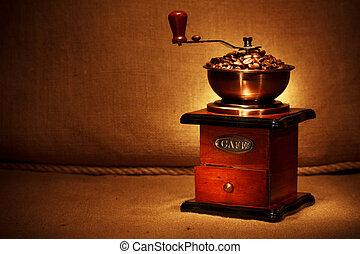 feijões, moedor café