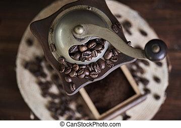 feijões, moedor café, cima fim