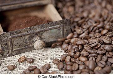 feijões, moedor café, detalhe, antigas