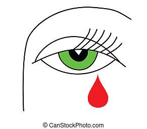 feiticeira, olho, ilustração, verde