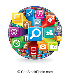 feito, ícones, mídia, esfera, computador, social