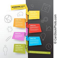 feito, coloridos, timeline, infographic, modelo, papeis, relatório