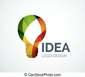 feito, cor, luz, pedaços, desenho, bulbo, logotipo