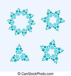 feito, snowflakes, coloridos, dots., abstratos, estrelas, vetorial, círculo, flores