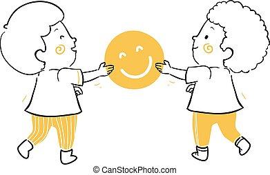 felicidade, crianças, dar, ilustração