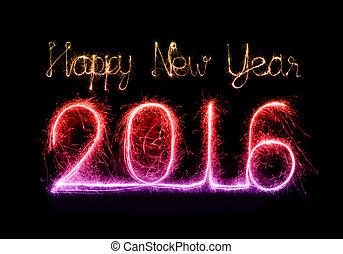 feliz, ano, brilho, novo, fogo artifício, 2016