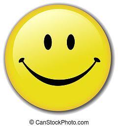 feliz, botão, smiley, emblema, rosto