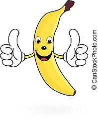 feliz, caricatura, banana