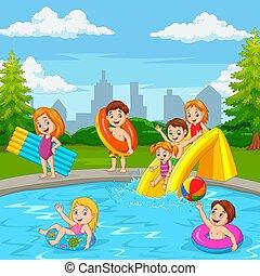 feliz, caricatura, piscina, natação, família, tocando