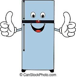 feliz, caricatura, refrigerador