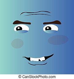 feliz, caricatura, rosto