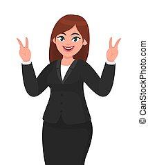 feliz, conceito, sucedido, executiva, sinal., dois, ilustração, ou, vetorial, /, v, fingers., caricatura, gesticule, style., mostrando, vitória