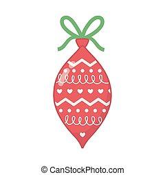 feliz, corações, decorado, celebração natal, bola, fita