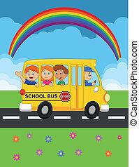 feliz, criança, caricatura, autocarro, escola