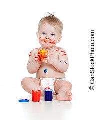 feliz, criança, paints., isol, sujo