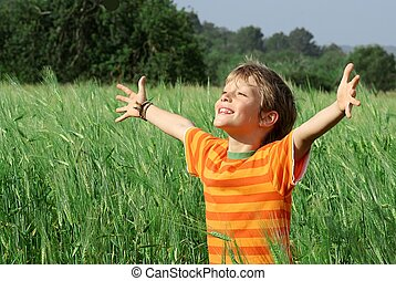 feliz, criança, verão, saudável