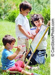 feliz, crianças, desenho, tocando