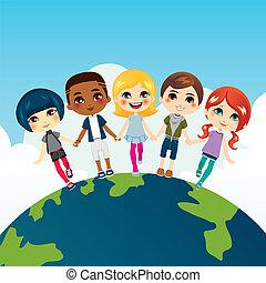 feliz, crianças, multi-étnico