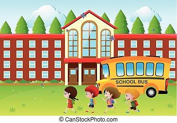 feliz, escola, ir, crianças