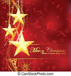feliz, experiência dourada, bokeh, estrelas, natal, vermelho