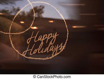 feliz, feriados, sinal, brilhos