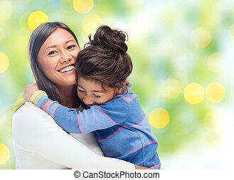 feliz, filha, abraçando, mãe