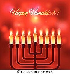 feliz, fundo borrado, hanukkah