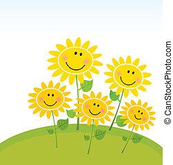 feliz, girassóis, jardim, primavera