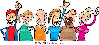 feliz, grupo, pessoas