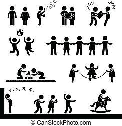 feliz, jogar crianças, pictograma