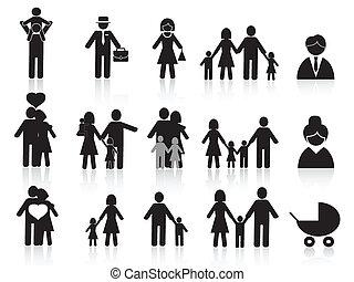 feliz, jogo, família preta, ícones