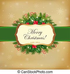 feliz natal, cartão, saudação