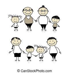 feliz, -, pais, junto, avós, família, crianças
