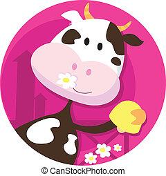 feliz, personagem, sino vaca