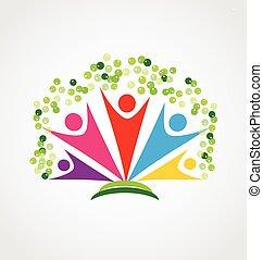 feliz, pessoas, logotipo, árvore, trabalho equipe