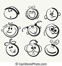 feliz, pessoas, rosto, ícone
