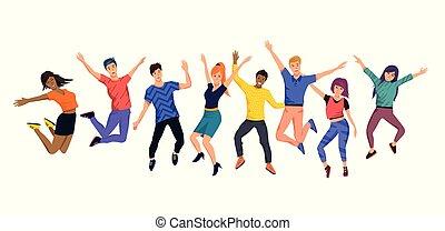 feliz, pular, jovem, cobrança, pessoas