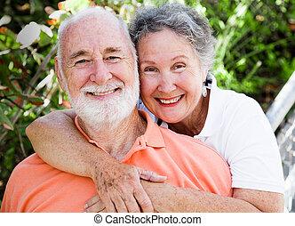 feliz, saudável, par, sênior
